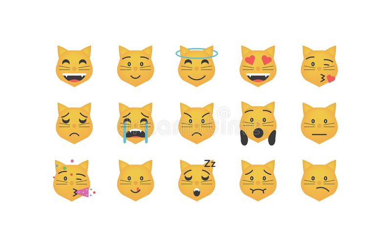 Insieme del vettore dell'emoticon del gatto illustrazione di stock