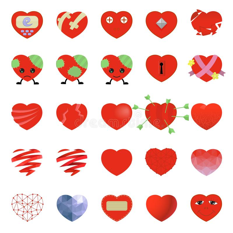 Insieme del vettore dell'icona del cuore isolato su fondo bianco Vettore di Emoji Insieme dell'icona di sorriso di amore royalty illustrazione gratis