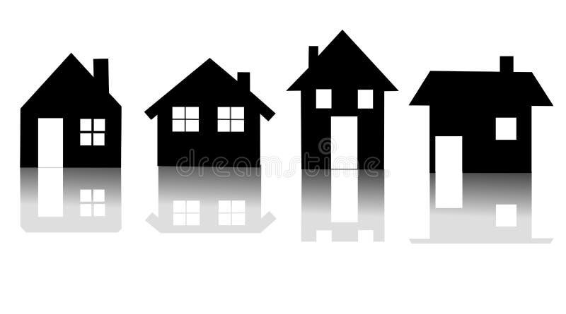 Insieme del vettore dell'icona della casa immagine stock