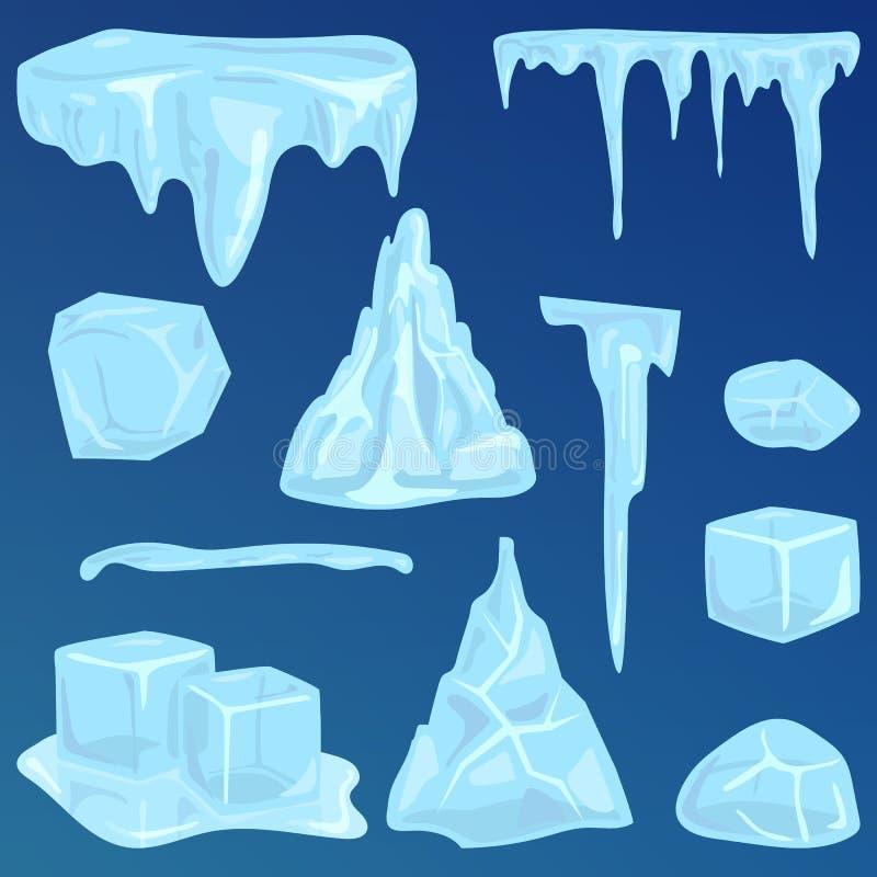 Insieme del vettore della decorazione di inverno degli elementi dei cumuli di neve e dei ghiaccioli delle calotte glaciali illustrazione di stock