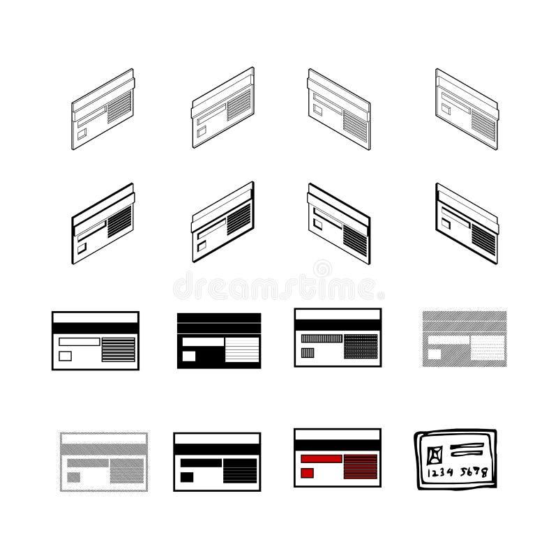 Insieme del vettore moderno della raccolta Tipo dell'icona della carta di credito multi di royalty illustrazione gratis