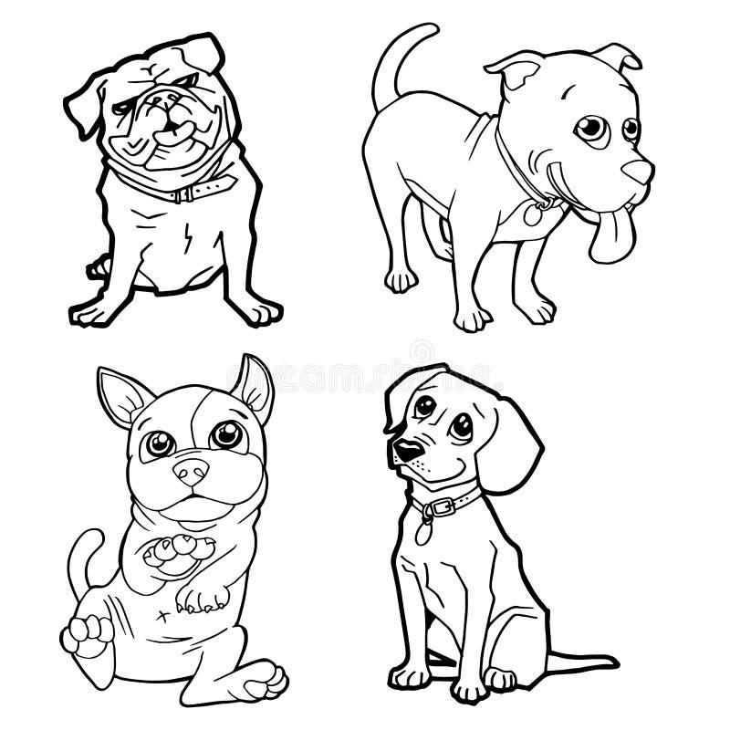Insieme del vettore sveglio della pagina di coloritura del cane del fumetto illustrazione di stock