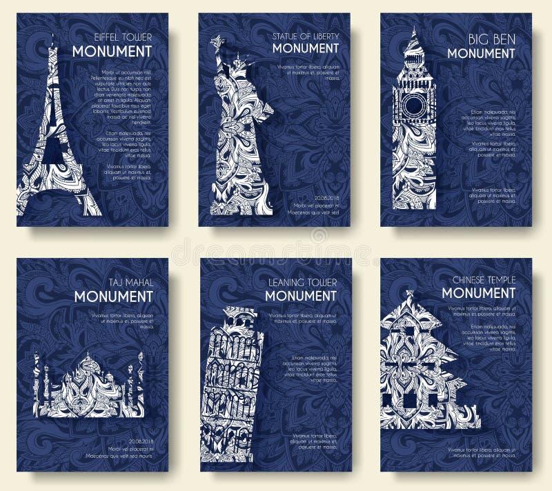 Insieme del viaggio ornamentale di arte ed architettura sulle alette di filatoio floreali etniche di stile Monumenti storici dell illustrazione vettoriale
