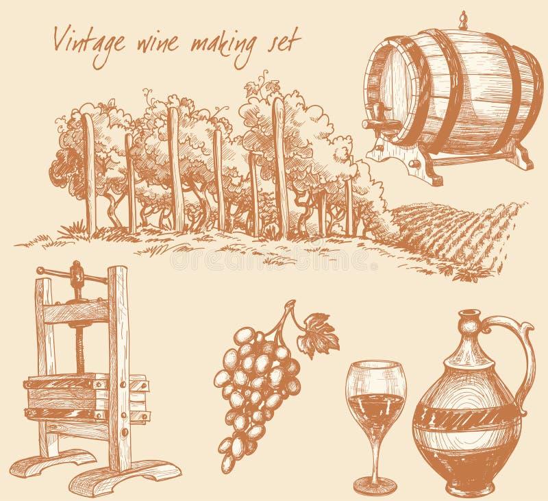Insieme del vino dell'annata e di fabbricazione di vino illustrazione vettoriale
