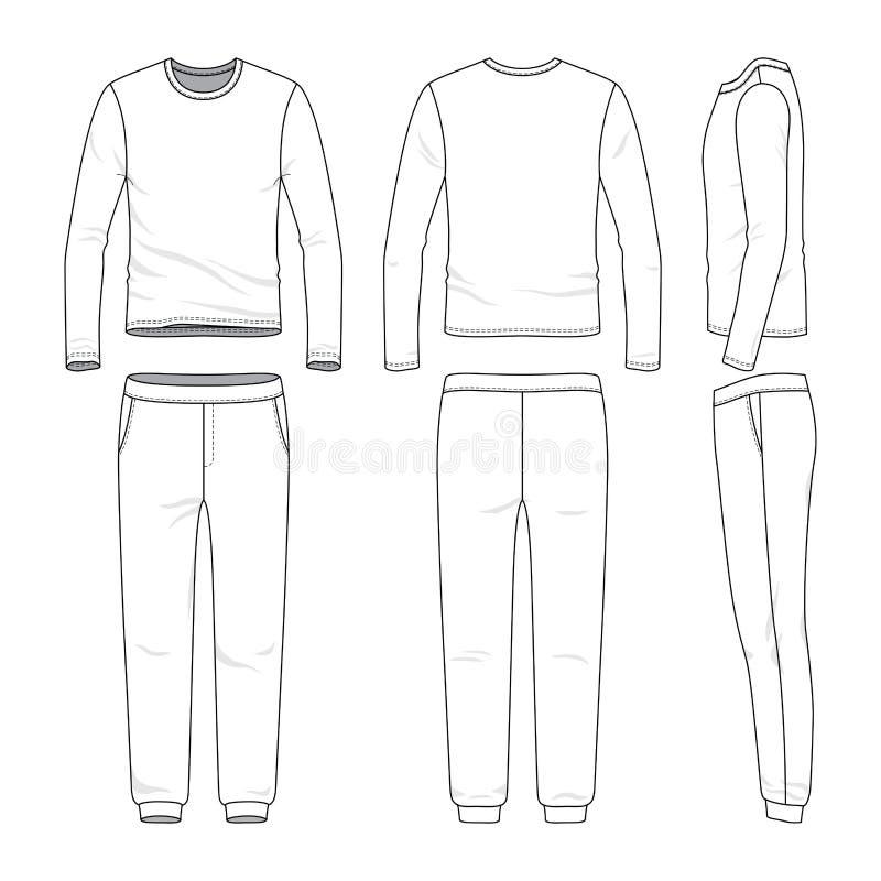Insieme dell'abbigliamento della camicia e degli sweatpants collegati lunghi royalty illustrazione gratis