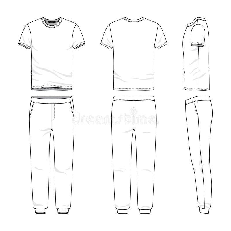 Insieme dell'abbigliamento della maglietta e degli sweatpants illustrazione vettoriale