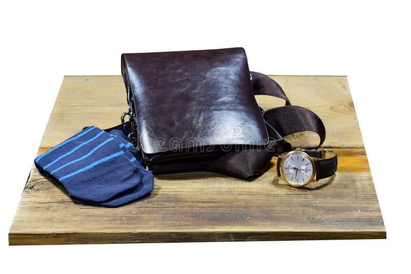 Insieme dell'abbigliamento e degli accessori di modo alla moda del ` s degli uomini Orologio, calzini e borsa alla moda del ` s d fotografia stock