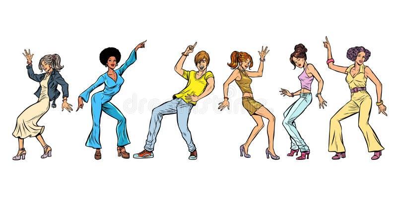 Insieme dell'accumulazione Ballare dei giovani ragazze dei ragazzi delle donne degli uomini illustrazione di stock