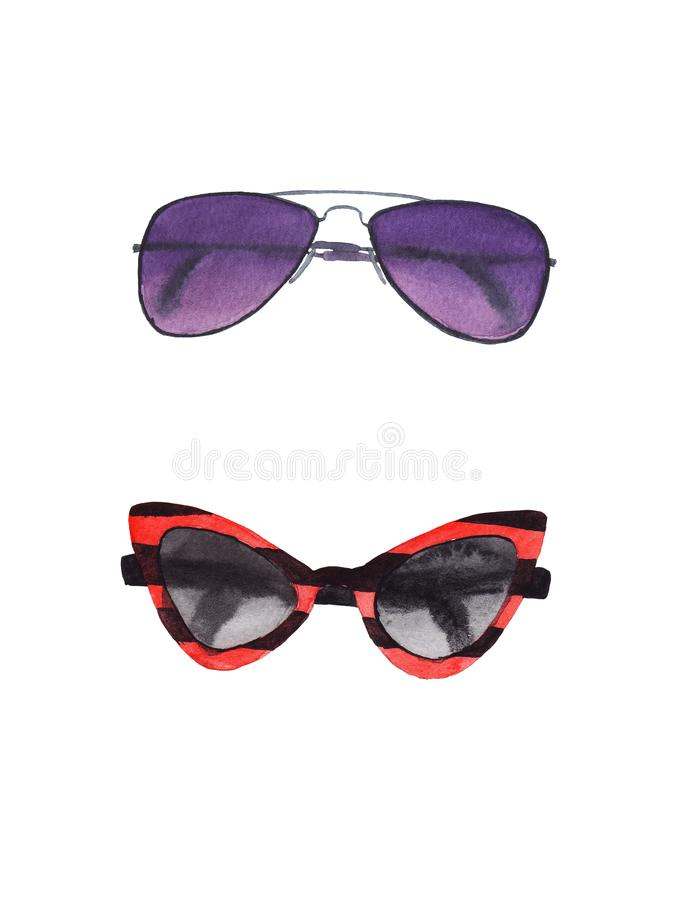 Insieme dell'acquerello degli occhiali da sole isolati illustrazione vettoriale