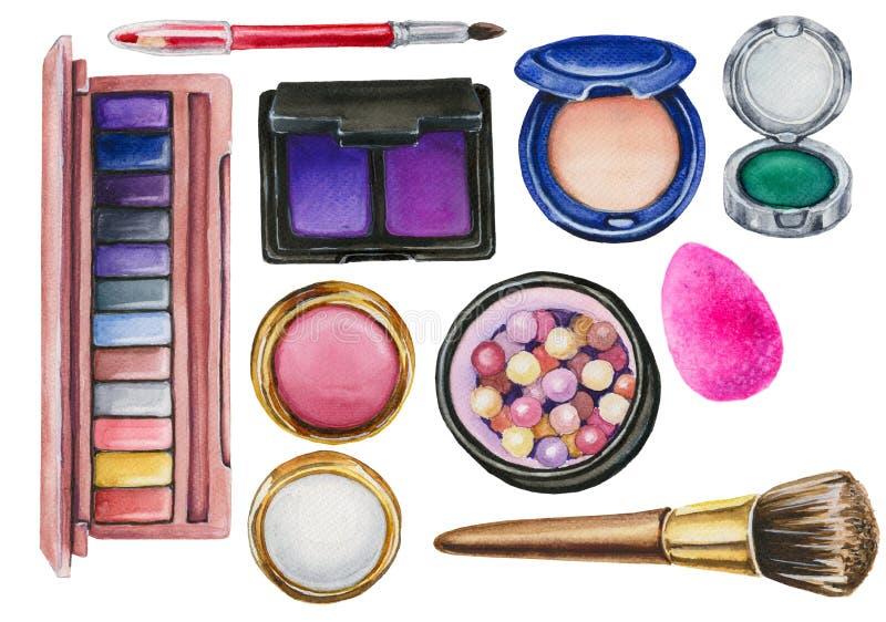 Insieme dell'acquerello dei cosmetici immagini stock