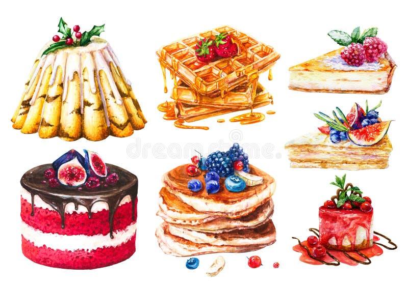 Insieme dell'acquerello dei dolci, pasticcerie dolci illustrazione vettoriale