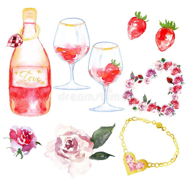 Insieme dell'acquerello dei simboli per il giorno o l'impegno di biglietti di S. Valentino illustrazione vettoriale