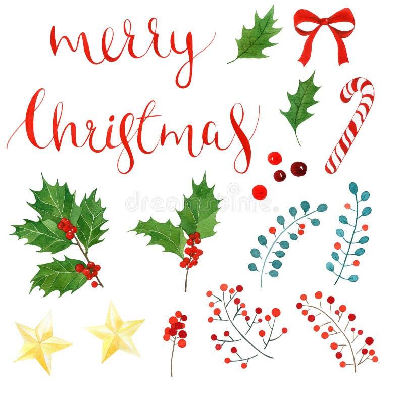 Insieme dell'acquerello di Natale iscrizione, bacche dell'agrifoglio e foglie, bastoncino di zucchero, arco, stella dorata illustrazione vettoriale