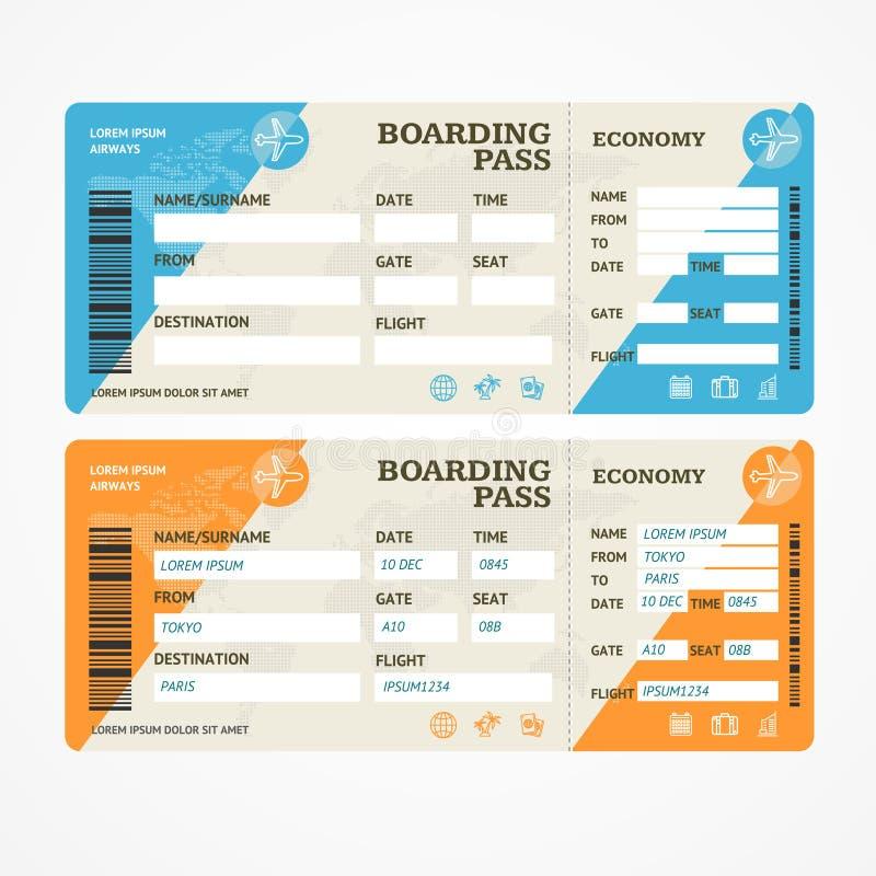Insieme dell'aeroplano dei biglietti del passaggio di imbarco Vettore royalty illustrazione gratis