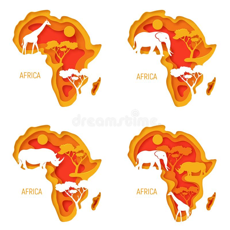 Insieme dell'Africa Le mappe decorative del taglio della carta 3d del continente dell'Africa con gli animali selvatici profila -  illustrazione vettoriale