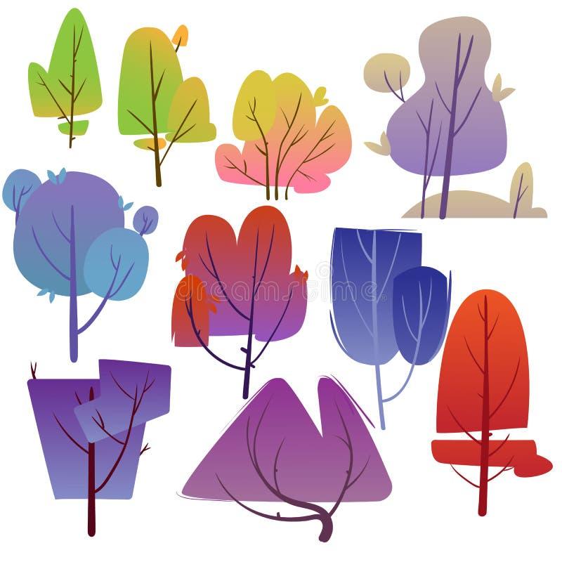 Insieme dell'albero del fumetto Progettazione degli alberi delle forme differenti con fogliame luminoso Illustrazione di vettore illustrazione di stock