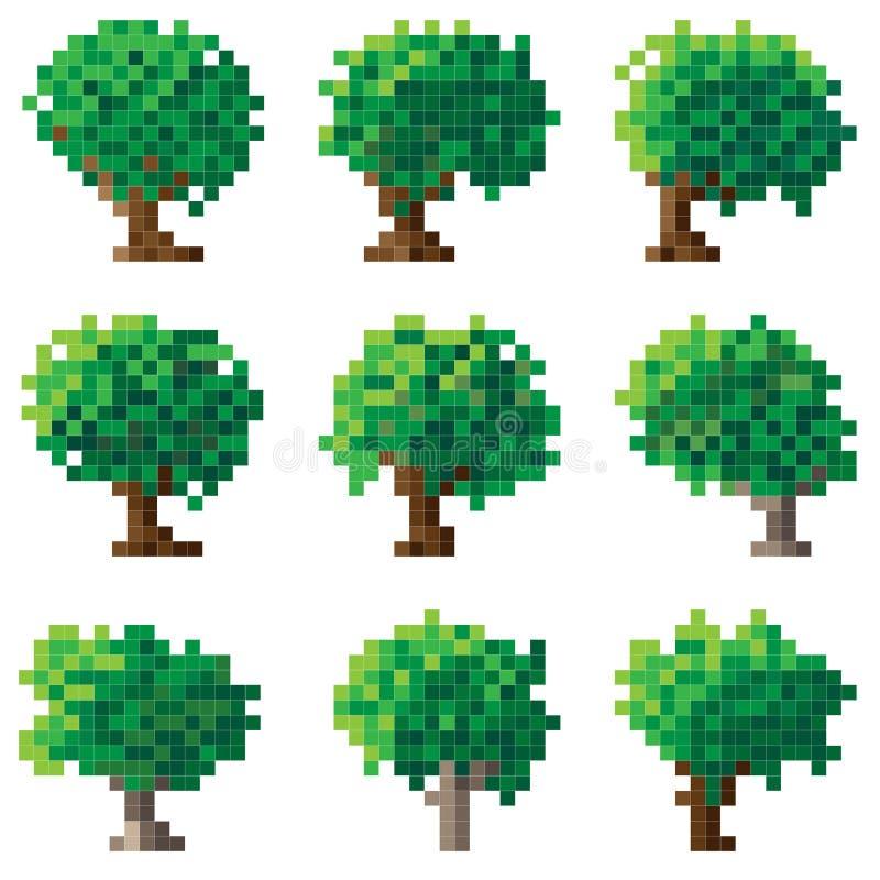 Insieme dell'albero verde del pixel. royalty illustrazione gratis