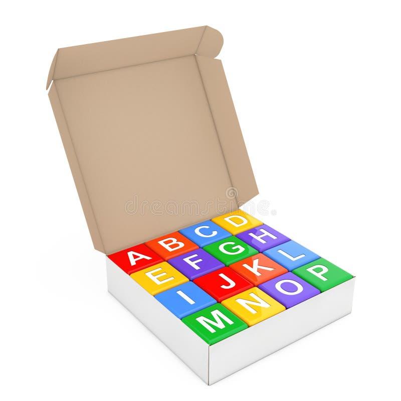 Insieme dell'alfabeto multicolore Toy Cubes in contenitore di cartone renderin 3D illustrazione di stock