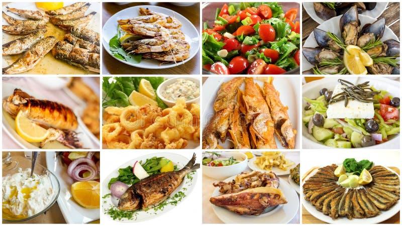 Insieme dell'alimento del collage differente dei frutti di mare foto di concetto dell'alimento immagini stock libere da diritti