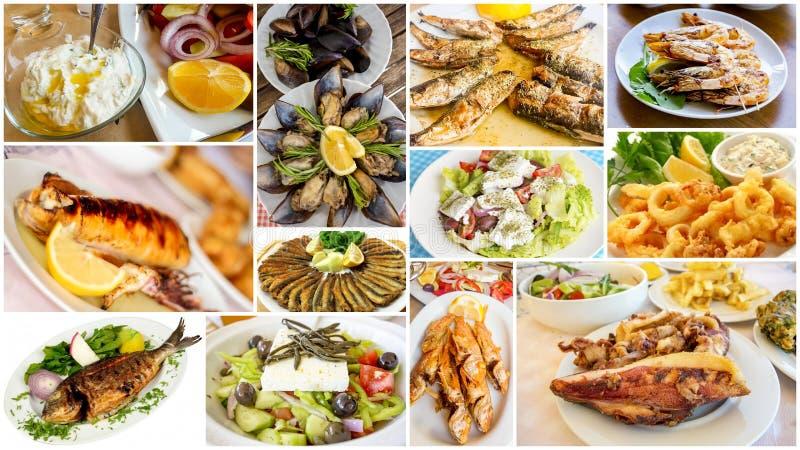 Insieme dell'alimento del collage differente dei frutti di mare foto di concetto dell'alimento fotografia stock