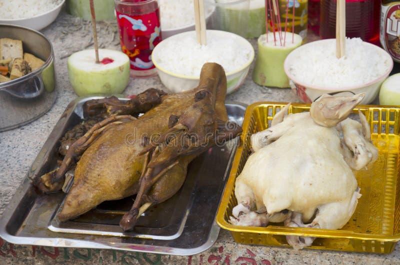 Insieme dell'alimento di cultura cinese d'offerta sacrificale per gli antenati fotografie stock