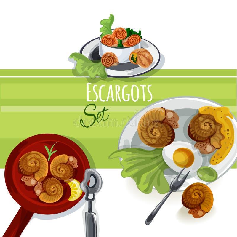 Insieme dell'alimento di vettore di Escargout immagine stock libera da diritti