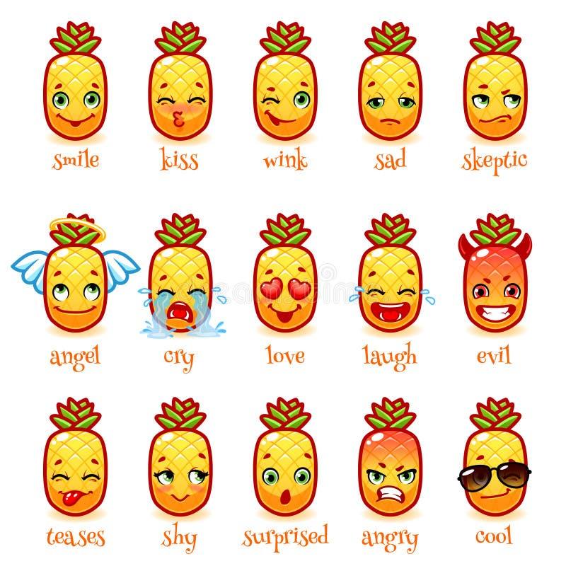 Insieme dell'ananas divertente degli emoticon royalty illustrazione gratis