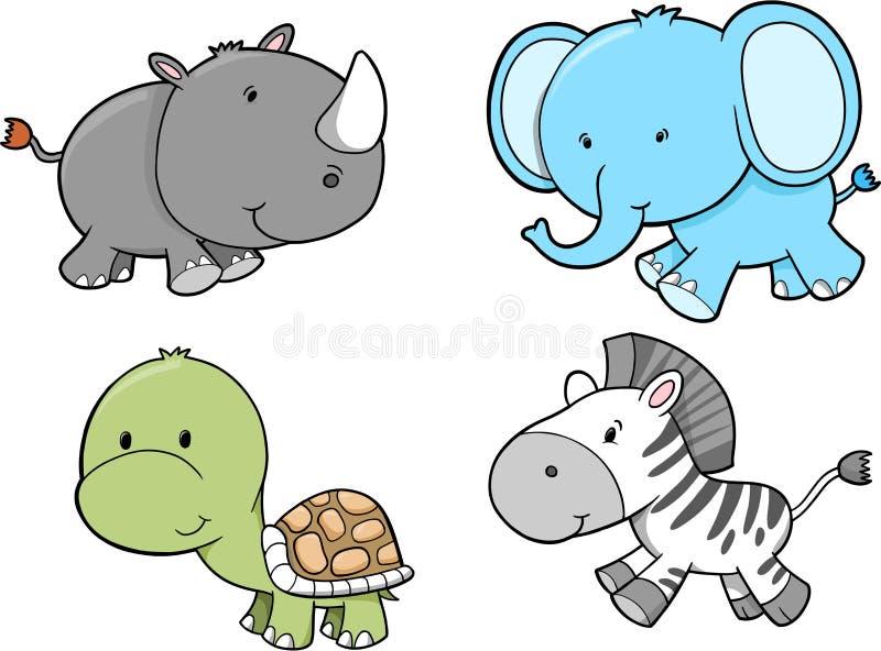 Insieme dell'animale di safari illustrazione vettoriale
