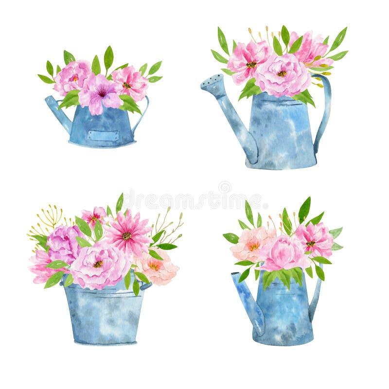 Insieme dell'annaffiatoio arrugginito d'annata della latta degli strumenti di giardinaggio dell'acquerello per i fiori d'innaffia illustrazione vettoriale