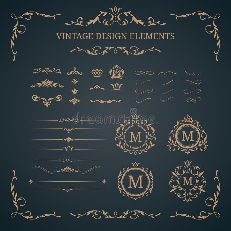 Insieme dell'annata degli elementi decorativi illustrazione di stock
