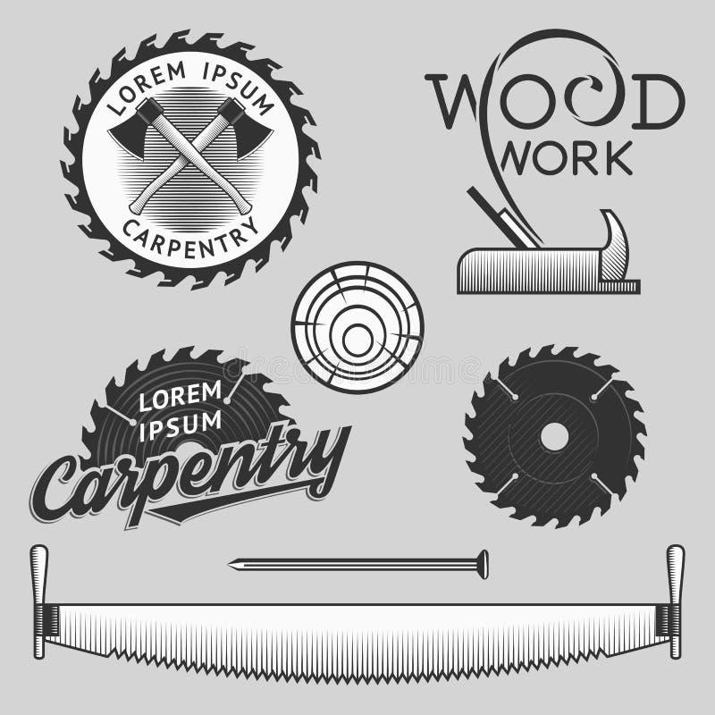 Insieme dell'annata del logos di carpenteria, delle etichette e degli elementi di progettazione azione royalty illustrazione gratis