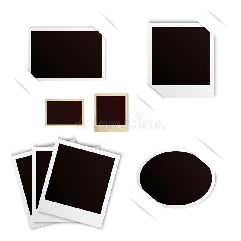 Insieme dell'annata della polaroid delle strutture della foto illustrazione vettoriale