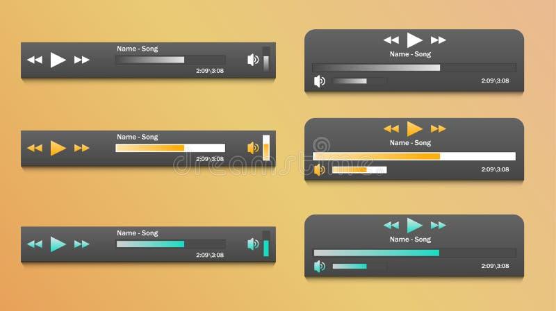 Insieme dell'applicazione del lettore multimediale, modello di app con stile piano di progettazione per gli smartphones, PC o com illustrazione vettoriale