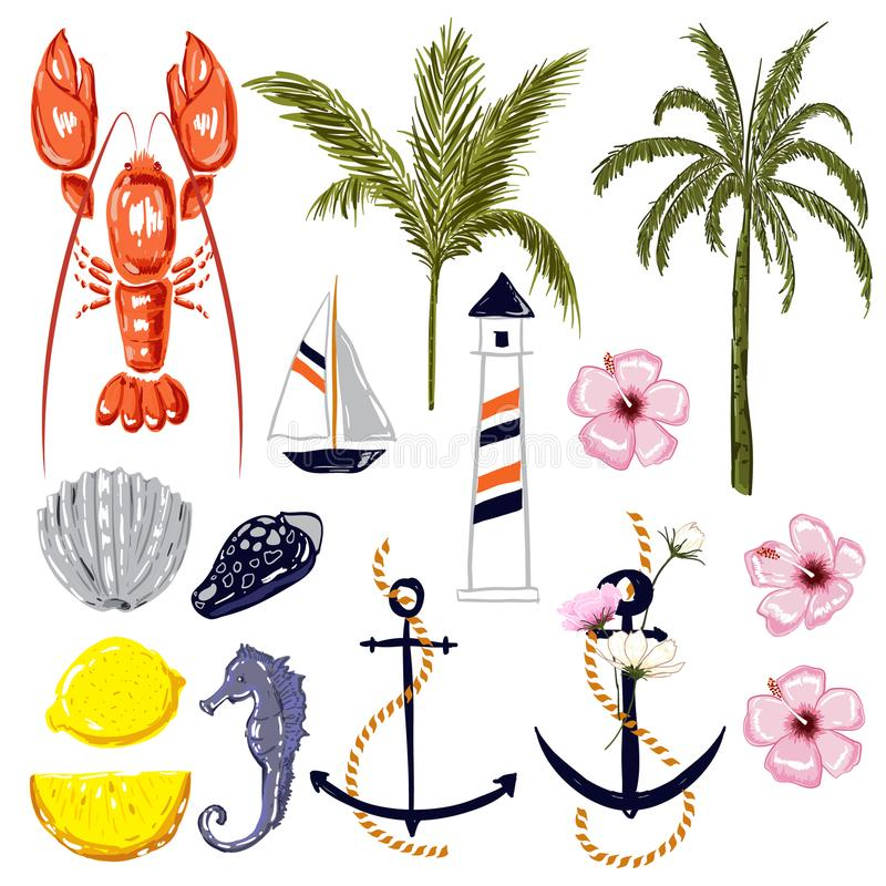 Insieme dell'aragosta, delle coperture, della nave, della noce di cocco e della palma di vibrazioni di estate illustrazione di stock