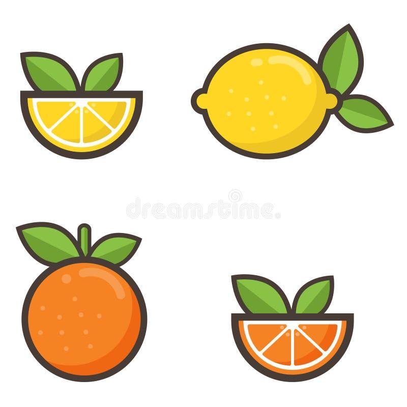 Insieme dell'arancia e del limone del fumetto illustrazione vettoriale