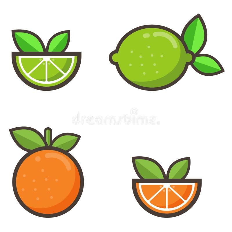 Insieme dell'arancia e della calce del fumetto illustrazione di stock