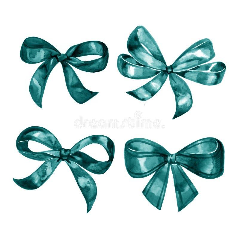 Insieme dell'arco dell'acquerello Archi e nastri differenti del blu per le feste, saluto, celebrazione come Natale, compleanno illustrazione vettoriale