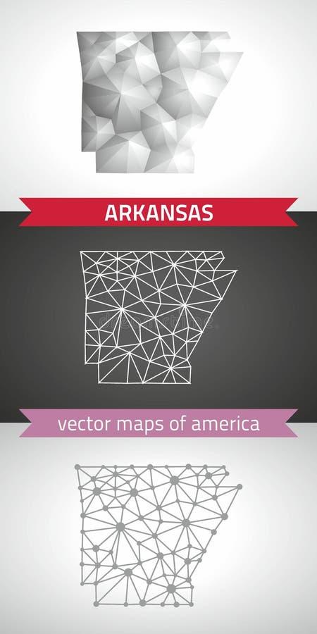 Insieme dell'Arkansas di grey e delle mappe poligonali del mosaico 3d dell'argento illustrazione vettoriale