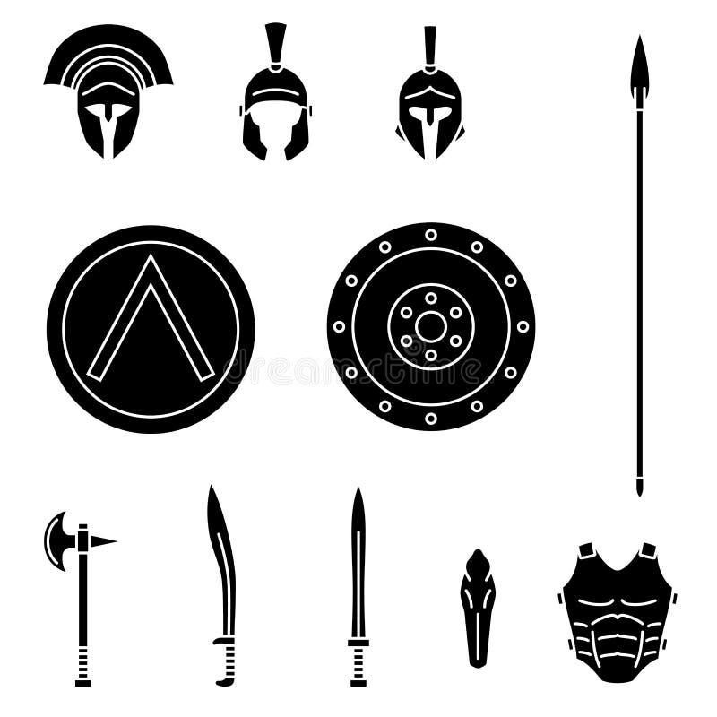 Insieme dell'arma spartana del greco antico e dell'attrezzatura protettiva Lancia, spada, xyphos, schermo, ascia, casco, leggins illustrazione di stock