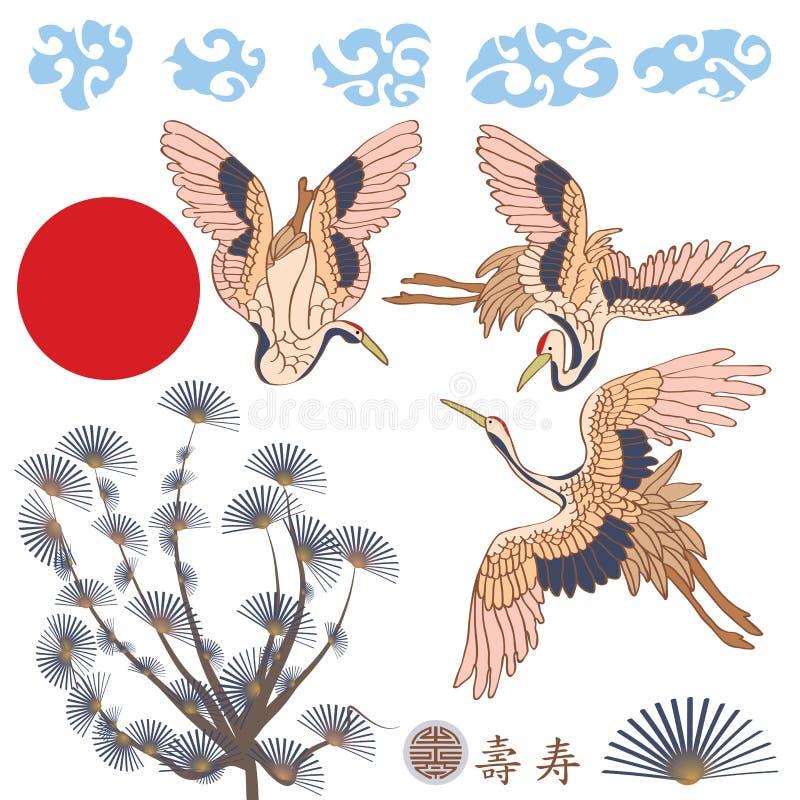Insieme dell'Asia dell'elemento delle gru illustrazione vettoriale