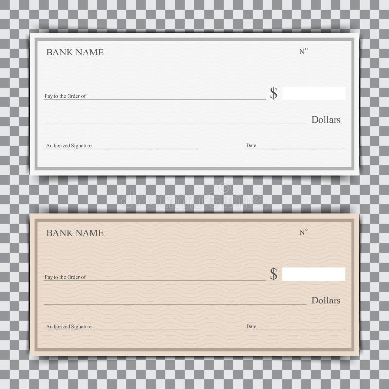 Insieme dell'assegno bancario in bianco con ombra su un fondo trasparente illustrazione vettoriale