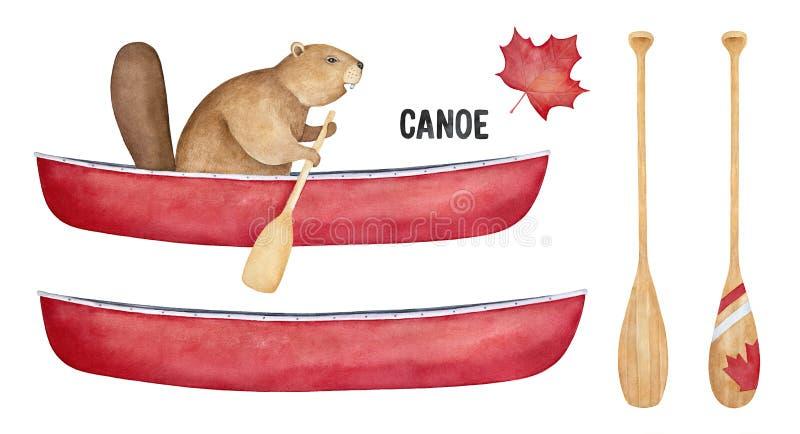 Insieme dell'attrezzatura di sport della canoa con il carattere divertente del castoro, la barca variopinta e la raccolta della p royalty illustrazione gratis