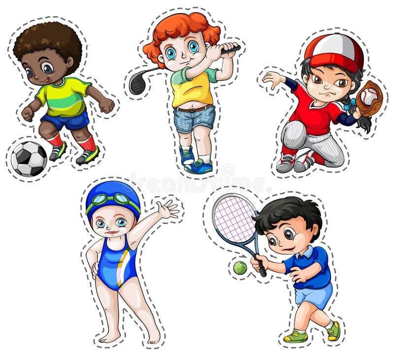 Insieme dell'autoadesivo dei bambini che giocano gli sport illustrazione di stock