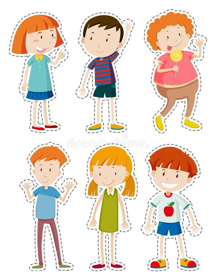 Insieme dell'autoadesivo dei bambini felici illustrazione di stock