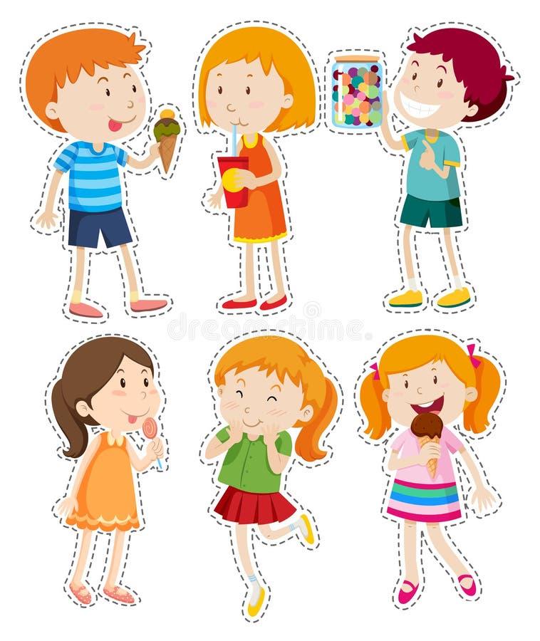 Insieme dell'autoadesivo dei ragazzi e delle ragazze illustrazione vettoriale