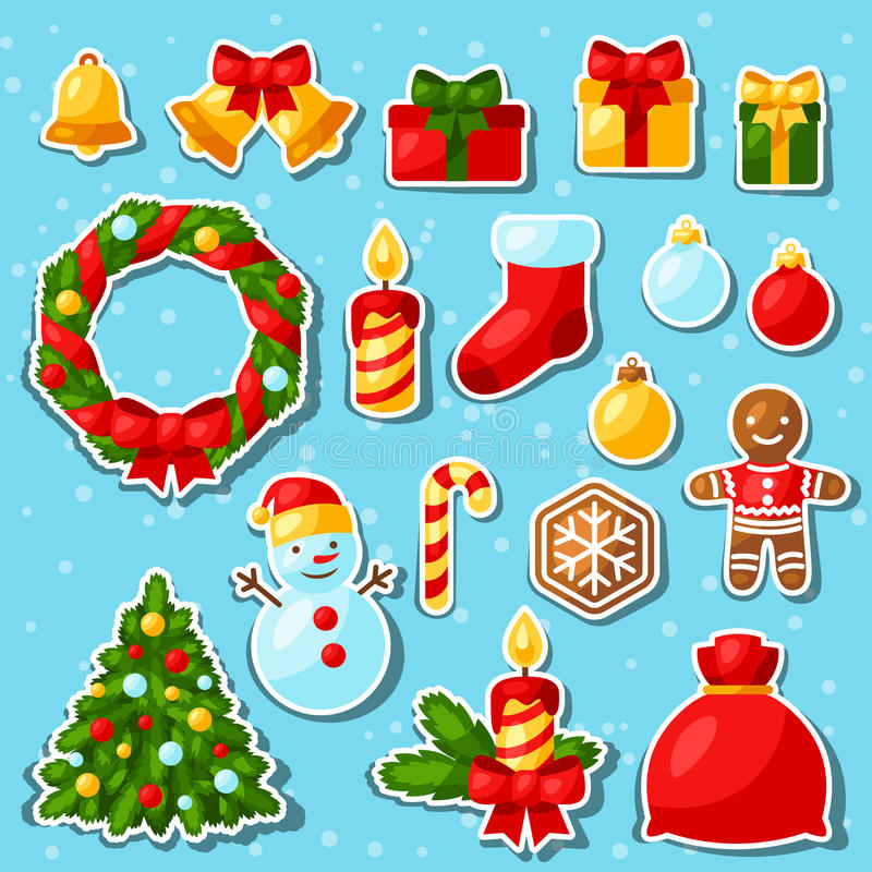 Insieme dell'autoadesivo del buon anno e di Buon Natale illustrazione di stock