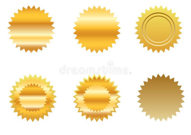 Insieme dell'autoadesivo dell'oro illustrazione vettoriale