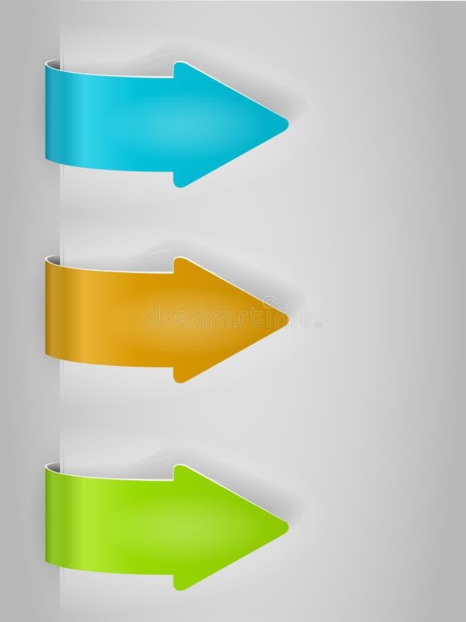 Insieme dell'autoadesivo delle frecce di colore illustrazione di stock