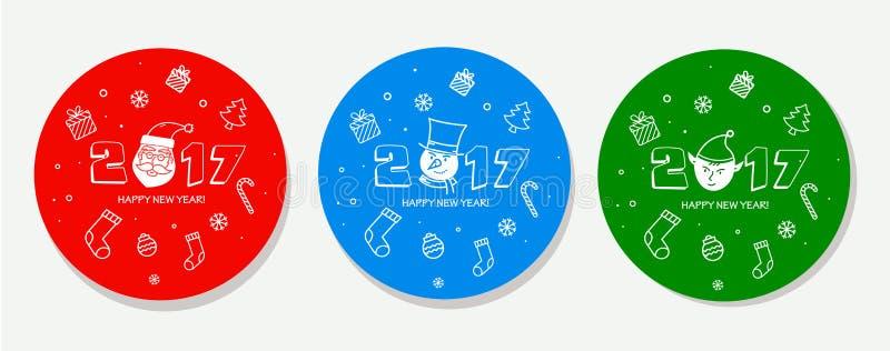 Insieme dell'autoadesivo di Natale illustrazione di stock
