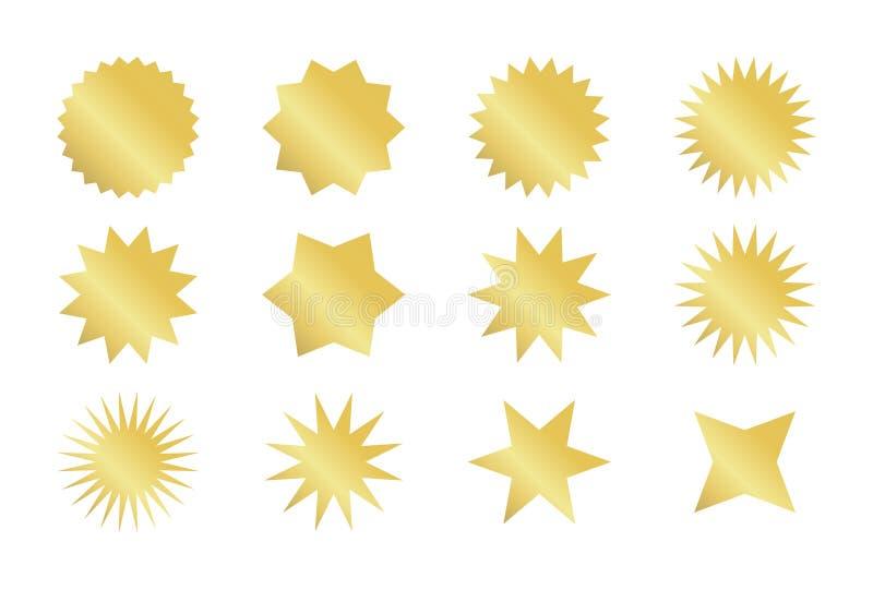 Insieme dell'autoadesivo di Starburst Distintivi dorati dello sprazzo di sole negli stili differenti illustrazione vettoriale